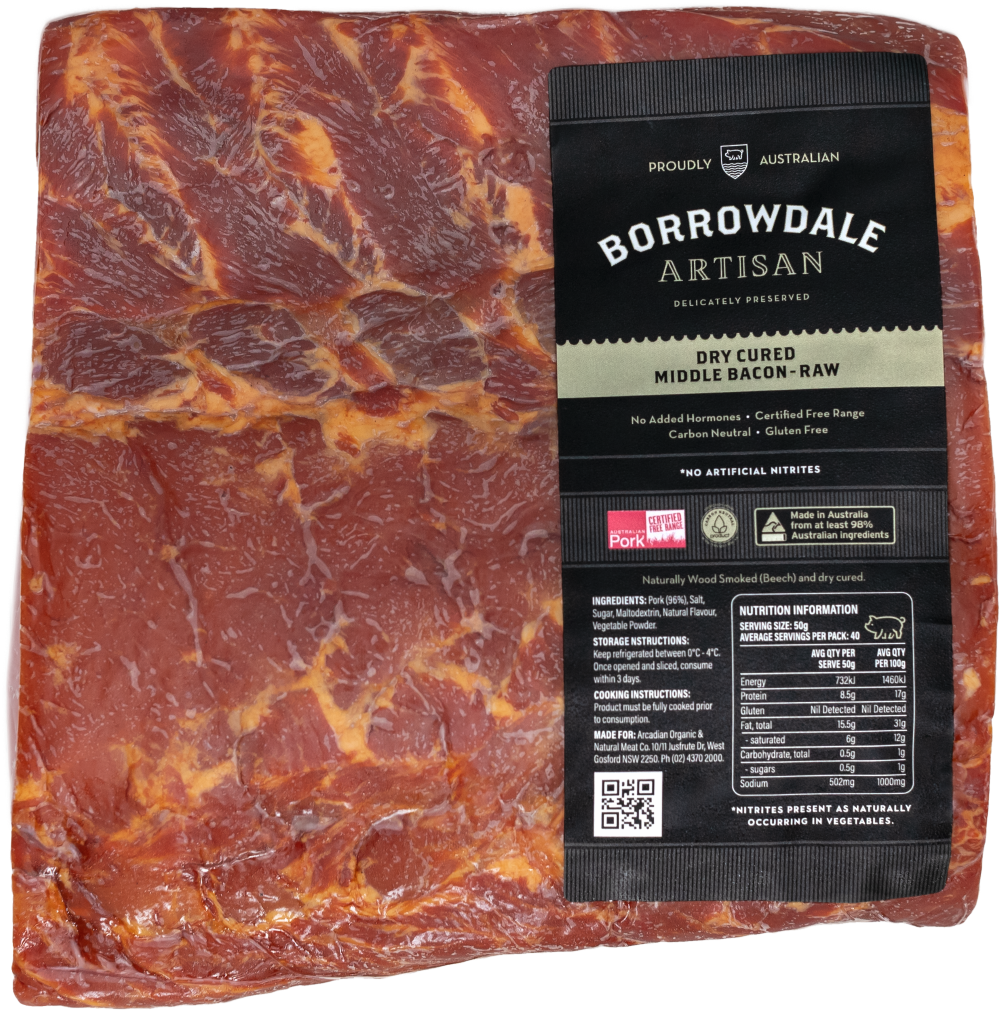 Borrowdale Artisan Dry Cured Middle Bacon Whole